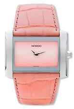 BRAND NEW MOVADO 0605296 ELIRO PINK ALLIGATOR STRAP SILVER CASE WOMEN'S WATCH