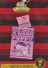 C50 BETTWÄSCHE SNOOPY lila HAPPINESS IS A WARM PUPPY  BAUMWOLLE  135x200