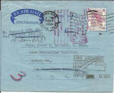 Hong Kong CHINA SG#185(single frank) AIR LETTER Kowloon 29/DEC/1960