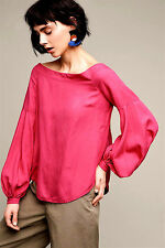 NEW NWT $98 ANTHROPOLOGIE POPPY BELL SLEEVE BLOUSE TOP SHIRT MEDIUM PINK 14 XL