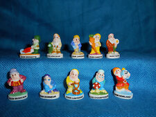 GARDEN LAWN GNOMES Set of 10 Mini Figurines FRENCH Porcelain FEVES Lutin Farmers