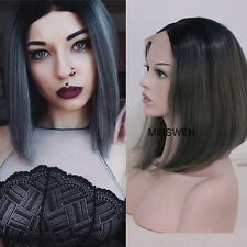 """12""""Short Straight Dark Grey With Black Roots Ombre Lace Front Wig Heat Resistant"""