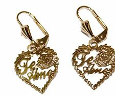 Te Amo Heart Leverback Earring 18k Gold Plated Dangle Earrings - Te Amo Heart