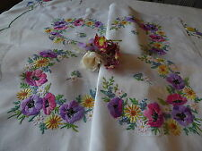 VINTAGE HAND EMBROIDERED LINEN TABLECLOTH=BEAUTIFUL FLORAL BOUQUETS