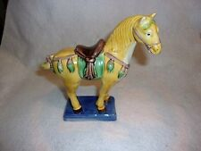 Pretty Colorful Porcelain Chinese Horse Figurine With Blue Base~Must See!!