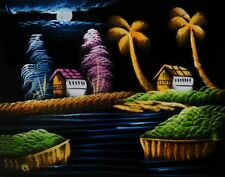 """Painting On Velvet Cloth Beautiful Midnight in a Village 19""""X16"""" Best Price"""