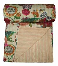 Indian Handmade Quilt Vintage Kantha Bedspread Throw Cotton Blanket Gudari Twin