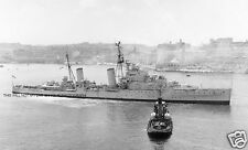 ROYAL NAVY DIDO CLASS CRUISER HMS EURYALUS ENTERING MALTA c 1948
