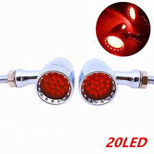 2XLED Chrome HouseAmber Stop Brake/Running Turn Signal Tail Light For Motorcycle