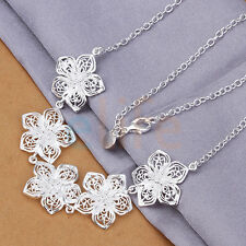 Vintage Sterling Plated Silver Flower Pendant Bib Chain Women Necklace Charming