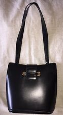 NWT Authentic BALLY Logos Shoulder Tote Bag Black Gold Leather Vintage Italy