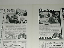 1938 Contax camera ads x2, Carl Zeiss Inc, Super Ikonta