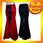 RK56 Long Fishtail Corset Skirt Gothic Lace Up Rockabilly Retro Punk Black / Red