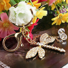 Bead Dragonfly Keyring Crystal  Charm Pendant Purse Bag Key Ring Keychain