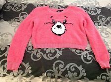 Iron fist Care Bears sweater jumper size L pink crop knit ladies cute retro geek