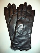 Ladies BUNNY Genuine Rabbit Fur Genuine Leather Gloves,Black,Medium Style 608