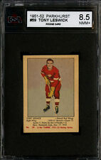 1951-52 PARKHURST #59 TONY LESWICK ROOKIE CARD DETROIT RED WINGS KSA 8.5 NM-MT+