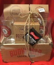BUDWEISER  Limited  Edition  Wooden  Crate  Box  Glass  &  Snack  Gift  Set