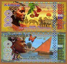SET, Equatorial Territories, 100;500 E Francs Kenya, Zanzibar POLYMER 2015, UNC
