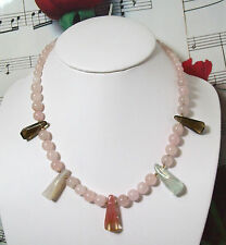 "Rose Quartz Graduated Beaded Necklace with 14K GF Beads & Clasp. 16"". RQ002"