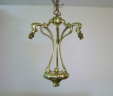 VINTAGE ART NOUVEAU STYLE BRASS / BRONZE CEILING LIGHT CHANDELIER - 2 AVAILABLE
