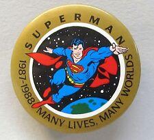 1977-1988 SUPERMAN MANY LIVES MANY WORLDS pinback button