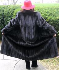 """EVANSFURS Lazarus Genuine Dark Brown Mink Fur Coat Sz S-M Long 46"""""""
