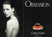 PUBLICITE ADVERTISING 114  1994  CALVIN KLEIN parfum OBSESSION KATE MOSS ( 2p)