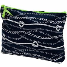 Thirty One Navy Blue Cosmetic Bag Makeup Toiletry Wash Bag Beauty Zipper Pouch