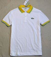 NWT MEN LACOSTE BRAZIL FLAG LOGO SHORT SLEEVE POLO SHIRT SZ 4 SMALL