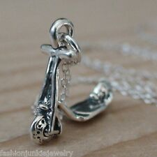 Scooter Charm Necklace - 925 Sterling Silver - Scooter Bike Child Ride Pendant