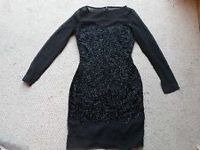 Gorgeous NEW Virgos Lounge Black Hand Beaded & Sheer Shift Dress Size: UK 8