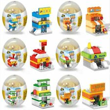 Kids Mini Street City Town Block Building Bricks Toy McDonald/Bank/Dessert Shop