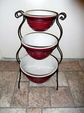Longaberger Mixing Bowls Wrought Iron Stand MADE IN USA Pottery Paprika Red
