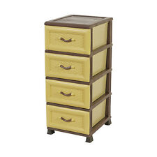 BAMBOO DESIGN DRAWER  Cabinet Cream /  Brown Plastic Storage Unit