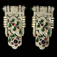 KTF Trifari 1930s Jewels of India Pair of Tricolour Cabochons Dress Clips