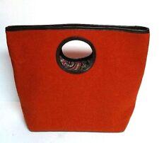 Kate Spade Chantelle Soho Wool Felt Tote Handbag Cafe Bag Orange Brown Paisley