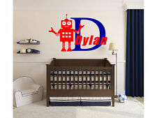 "Boys Robot Name Monogram Wall Decal #2 Nursery Room Vinyl Wall Graphics 22"" Tall"