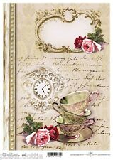 Rice Paper Decoupage Scrapbook Embellishments Sheet Vintage Teacups Handwriting