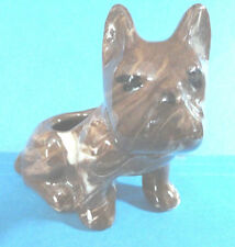 Vintage Glazed(Redware?) Brown Dog Figurine Planter