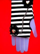 Black & white stripe lace chained heart fingerless gloves EGL EMO Punk cosplay