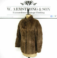 Women's VINTAGE Brown REAL MUSQUASH FUR Short Party DIVA Glam Coat Jacket UK M