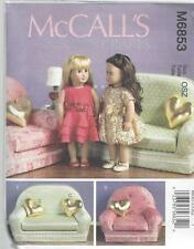 "McCALL'S SEWING PATTERN 18"" DOLL CLOTHES PILLOW CHAIR & LOVE SEAT  M6853"