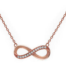 Rose Gold Plated Cubic Zirconia Infinity Knot .925 Sterling Silver Necklace