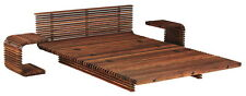 "100"" W King bed luxurious brown slates polished exotic wood frame unique design"
