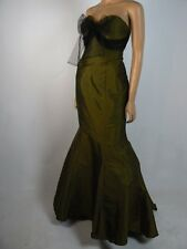 $249 Kirstie Kelly Maiden Disney Fairy Tale Olive Green Taffeta Dress 8 NWT K254