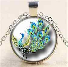 Dancing Peacock Photo Cabochon Glass Tibet Silver Chain Pendant Necklace