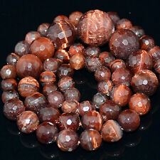 6mm-14mm Natural Gemstone Crystal Jewelry Feceted Round Beads Necklace 15.5""