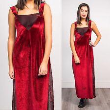 WOMENS 90S VINTAGE RED VELVET SHEER METALLIC PANEL SCOOP NECK MAXI DRESS GLAM 14