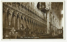 Cambridgeshire - Ely Cathedral, Choir Stalls - Vintage Real Photo postcard